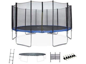 490 cm Jupiter XXL blaues Trampolin mit Schutznetz, Leiter, Plane, Schuhnetz, Ankersatz, 490 cm 4 m Gartentrampolin | PRO-Qualität | EU-Standards