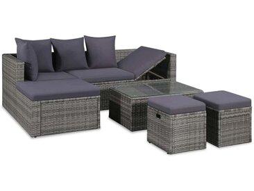 Asupermall - 4-Tlg. Garten-Lounge-Set Mit Auflagen Poly Rattan Grau