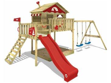 Spielturm Klettergerüst Smart Coast mit Schaukel & roter Rutsche, Stelzenhaus mit Sandkasten, Kletterleiter & Spiel-Zubehör - Wickey