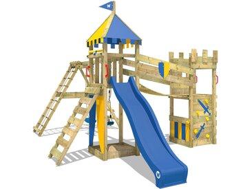 Spielturm Smart Legend 150 Ritterburg Klettergerüst Spielplatz mit Doppelschaukel, Sandkasten, Wackelbrücke, blauer Rutsche und blau-gelber Plane