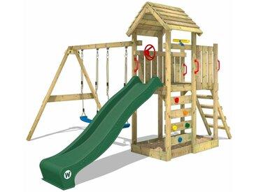 WICKEY SUPERSALE Spielturm Klettergerüst MultiFlyer Holzdach mit Schaukel & grüner Rutsche, Kletterturm mit Holzdach, Sandkasten, Leiter & Spiel-Zubehör