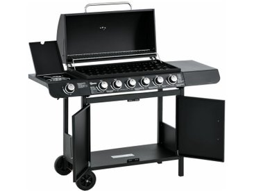 Outsunny® Gasgrill balkon BBQ Grillwagen mit 7 Brennern Schrank Multifunktion Metall Schwarz - schwarz