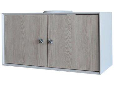 Fackelmann ix! Waschbeckenunterschrank 67 cm, Weiß/Braun hell-'82451'