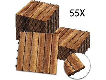 Hengda Holzfliesen 55-er Kachel Set ,5m², geeignet als Terrassenfliesen und Balkonfliesen, aus Akazien Holz , 30x30 cm, für Garten Terrasse Balkon