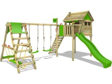 Spielturm Klettergerüst FunFactory mit Schaukel SurfSwing & apfelgrüner Rutsche, Stelzenhaus mit Leiter & Spiel-Zubehör - Fatmoose