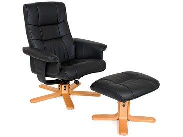 TV Fernsehsessel mit Hocker Modell 1 - Relaxsessel, Schlafsessel, Liegesessel - schwarz/beige