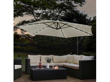 Juskys Ampelschirm Brazil 350 cm grau / creme – mit LED-Beleuchtung Solar & Kurbel – UV-Schutz wasserabweisend knickbar – Sonnenschirm Marktschirm