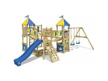 Spielturm Ritterburg Smart Queen mit Schaukel & blauer Rutsche, Spielhaus mit Sandkasten, Kletterleiter & Spiel-Zubehör - Wickey