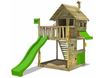 FATMOOSE MEGA SALE Spielturm Klettergerüst GroovyGarden mit apfelgrüner Rutsche, Spielhaus mit Sandkasten, Leiter & Spiel-Zubehör