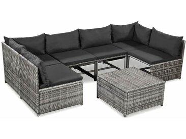 Vidaxl - 7-tlg. Garten-Lounge-Set mit Auflagen Poly Rattan Grau