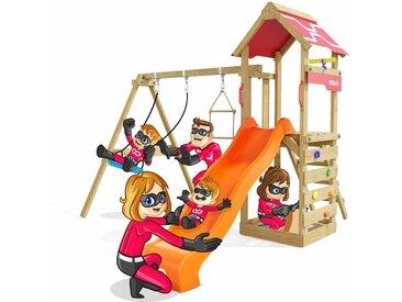 Spielturm Active Schaukelgestell mit Sandkasten und Kletterwand, Schaukel & Rutsche, viel Zubehör - Heroows