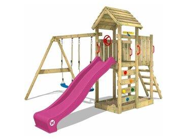 WICKEY SUPERSALE Spielturm Klettergerüst MultiFlyer Holzdach mit Schaukel & violetter Rutsche, Kletterturm mit Holzdach, Sandkasten, Leiter & Spiel-Zubehör