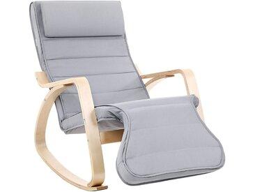 Schaukelstuhl Relaxstuhl 5-Fach Verstellbare Wadenstütze Belastbarkeit 150 kg Grau LYY42G