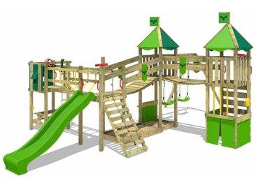 FATMOOSE MEGA SALE Spielturm Ritterburg FunnyFortress mit Schaukel & apfelgrüner Rutsche, Spielhaus mit Sandkasten, Leiter & Spiel-Zubehör