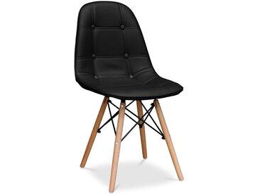 Deswick Gepolsterter Stuhl mit Knöpfen - Kunstleder Schwarz