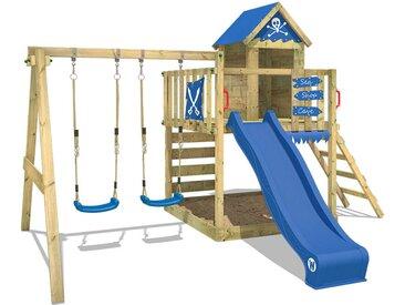 Spielturm Klettergerüst Smart Cave mit Schaukel & blauer Rutsche, Baumhaus mit Sandkasten, Kletterleiter & Spiel-Zubehör - Wickey