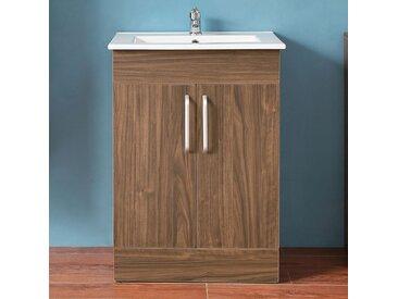 Aica - Waschtisch mit Unterschrank 60 cm freistehend Badmöbel Set Walnuss Keramikbecken 2x Türen