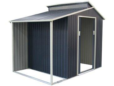 Metallische Gartenhaus Nottingham Mit Veranda 3,78 M² Außenfläche 129 cm x 293 cm x 229 cm Verzinkter Stahl Grau Anthrazit - Gardiun