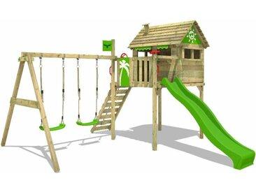 FATMOOSE MEGA SALE Spielturm Klettergerüst FunFactory mit Schaukel & apfelgrüner Rutsche, Stelzenhaus mit Leiter & Spiel-Zubehör