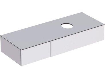 Geberit VariForm Unterschrank für Aufsatzwaschtisch, zwei Schubladen, Ablagefläche, Geruchsverschluss, Breite 135 cm, Farbe (Front/Korpus): Oberfläche: weiß lackiert, hochgänzend, Deckplatte: weiß matt - 501.177.00.1