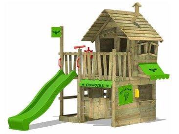FATMOOSE MEGA SALE Spielturm Klettergerüst CountryCow mit apfelgrüner Rutsche, Spielhaus mit Sandkasten, Leiter & Spiel-Zubehör