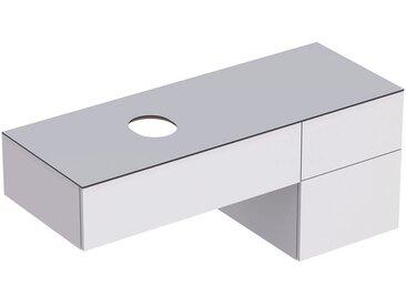 Geberit VariForm Unterschrank für Aufsatzwaschtisch, drei Schubladen, Ablagefläche, Geruchsverschluss, Breite 135 cm, Farbe (Front/Korpus): Oberfläche: weiß lackiert, hochgänzend, Deckplatte: weiß matt - 501.189.00.1