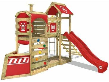 WICKEY SUPERSALE Spielturm Klettergerüst SteamFlyer mit Schaukel & roter Rutsche, Baumhaus mit Sandkasten, Kletterleiter & Spiel-Zubehör