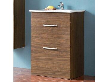 Aica - Badmöbel Set 60 cm Keramikbecken freistehend Waschtisch mit Unterschrank Walnuss Keramikbecken 2x Schubladen