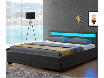 Polsterbett Lyon mit Bettkasten 140 x 200 cm - dunkelgrau - Artlife