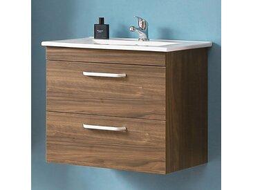 Waschtisch mit Unterschrank 60 cm Hängeschrank Badmöbel Set Walnuss Keramikbecken 2x Schubladen