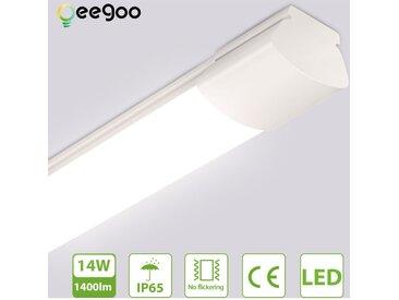 LED Feuchtraumleuchte IP65, Oeegoo 14W 1400LM(100LM/W), Flimmerfreie Deckenlampe LED Wannenleuchte, 60CM Röhre für Feuchtraum Garage Lager Werkstatt Garten 4000K