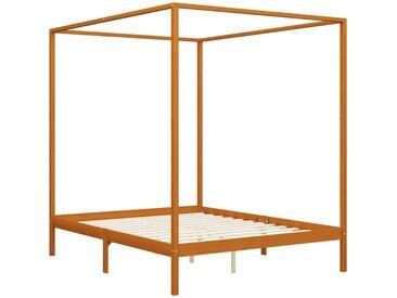Himmelbett-Gestell Honigbraun Massivholz Kiefer 180 x 200 cm VD24151 - Hommoo