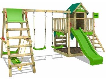 FATMOOSE MEGA SALE Spielturm Klettergerüst JazzyJungle mit Schaukel SurfSwing & apfelgrüner Rutsche, Spielhaus mit Sandkasten, Leiter & Spiel-Zubehör
