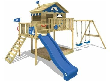 WICKEY SUPERSALE Spielturm Klettergerüst Smart Coast mit Schaukel & blauer Rutsche, Stelzenhaus mit Sandkasten, Kletterleiter & Spiel-Zubehör