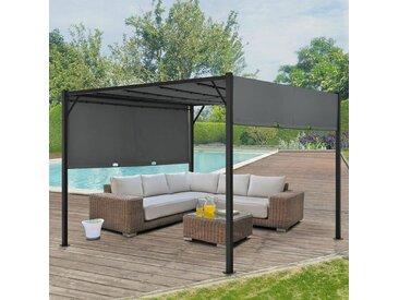 Artlife - Pavillon Cavo 3 × 4 m grau – Pergola mit LED Beleuchtung & Flachdach – Sonnenschutz Garten Terrasse – Terrassenüberdachung Stahl-Gestell
