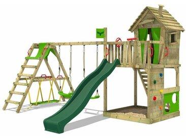 FATMOOSE MEGA SALE Spielturm Klettergerüst HappyHome mit Schaukel SurfSwing & grüner Rutsche, Spielhaus mit Sandkasten, Leiter & Spiel-Zubehör
