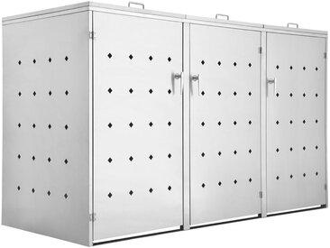 Zelsius - Edelstahl Mülltonnenbox 'Rhombus' mit Klappdeckel für 3 Tonnen