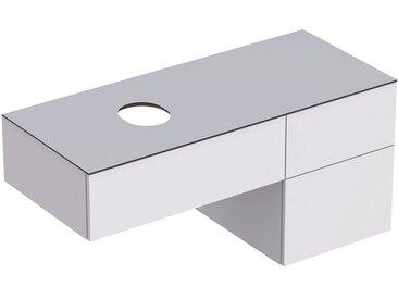 Geberit VariForm Unterschrank für Aufsatzwaschtisch, drei Schubladen, Ablagefläche, Geruchsverschluss, Breite 120 cm, Farbe (Front/Korpus): Oberfläche: weiß lackiert, hochgänzend, Deckplatte: weiß matt - 501.183.00.1