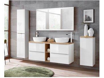 Lomadox - Badmöbel Komplett-Set weiß Hochglanz mit Doppel-Waschtisch TOSKANA-56 inkl. LED-Touch-Spiegel, BxHxT ca. 250/190/48cm