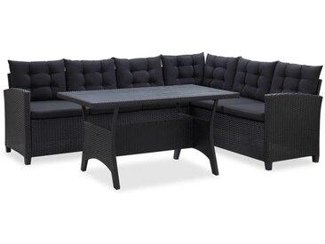 Asupermall - 3-tlg. Garten-Lounge-Set mit Auflagen Poly Rattan Schwarz
