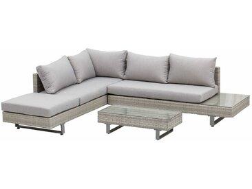 ® Polyrattan Gartenmöbel 3-tlg. Gartenlounge Sitzgruppe Garnitur mit Ablagen - grau - Outsunny