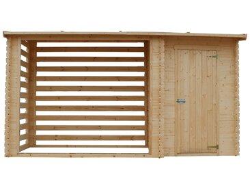 Holzhaus Gartenhaus mit Brennholzregal TIMBELA M205 - Gartenschuppen Holz B344xL146xH199 cm/ 3.64 m2 Lagerschuppen für Garten - Holzhalter mit Wasserfestes Dach