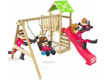Spielturm Terrific Schaukelgestell mit Kletterleiter, Kletterwand, Schaukel & Rutsche - Heroows