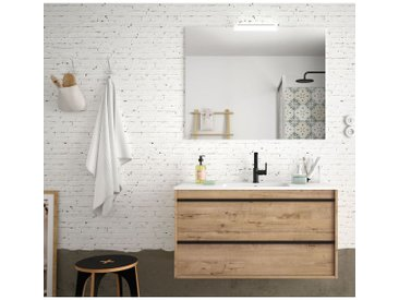 Badezimmer Badmöbel 100 cm Nevada aus Eiche ostippo Holz mit Porzellan Waschtisch   100 cm - Standard
