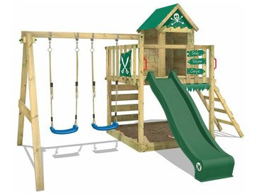 WICKEY SUPERSALE Spielturm Klettergerüst Smart Cave mit Schaukel & grüner Rutsche, Baumhaus mit Sandkasten, Kletterleiter & Spiel-Zubehör