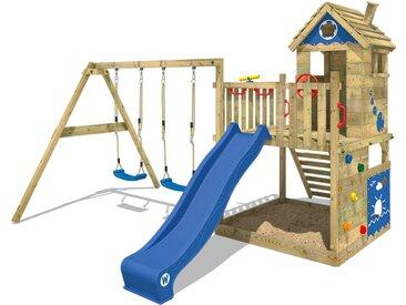 Spielturm Smart Lodge 120 Stelzenhaus Klettergerüst Baumhaus aus Holz mit Doppelschaukel, großem Sandkasten, Kletterwand und blauer Rutsche