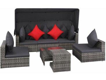 YOUTHUP 7-tlg. Garten-Lounge-Set mit Auflagen Poly Rattan Grau