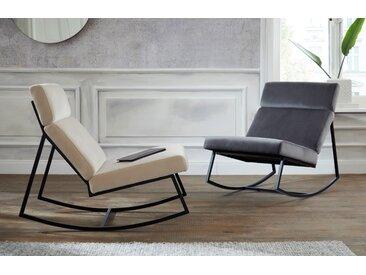 Guido Maria Kretschmer Home&Living Schaukelstuhl Soel, mit modernen Metallgestell und weichem Samtvelours Bezug Samtoptik grau Schaukelstühle Stühle Sitzbänke