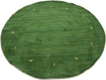 carpetfine Wollteppich Gabbeh Uni, rund, 15 mm Höhe, reine Wolle, handgewebt, Tiermotiv, Wohnzimmer (Ø 300 cm), grün Schurwollteppiche Naturteppiche Teppiche