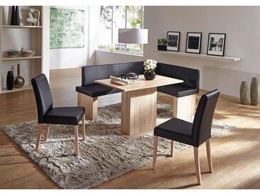 SCHÖSSWENDER Eckbankgruppe Anna, (Set, 5 tlg.), zeitloeses Design Kunstleder, langer Schenkel links schwarz Eckbänke Sitzbänke Stühle
